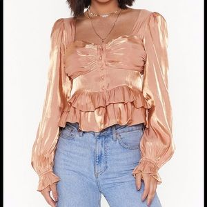 NWT NASTY GAL Shimmer Frill Button Down Blouse